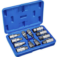 "12 Pc Internal Hex Socket Set Allen Key 1/2"" Inch Bits Tools Metric Case Garage"