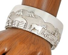 VTG Navajo Artist Jacob Kahe Storyteller .925 Silver Cuff Bracelet
