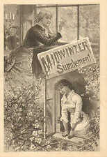 Midwinter Suppliment, North And South, Vintage, 1883, Antique Print.