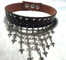 REAL LEATHER CHOKER COLLAR NECKLACE EMO PUNK ROCK GOTHIC FASHION NEW BROWN