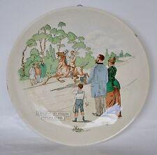 """Assiette faïence illustrée BOCH Frères KERAMIS  """"Dimanche des Bourgeois"""" fin XIX"""