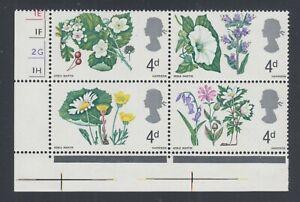 Great Britain SG F279WEb-F282WEb MNH. 1967 Flowers, Block w/ Selvage Perfed Thru