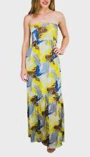 $ 210 BCBG MAX AZRIA YELLOW BLUE PRINTED OFF SHOULDER MAXI LINED DRESS Sz XL