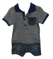 NEW! Baby Boys Blue Denim Look Mock Polo T-Shirt Shorts Bodysuit Romper Outfit
