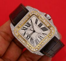 Cartier Santos 100xl Two Tone Watch Fully Iced 550 Diamonds 7.50 Carats