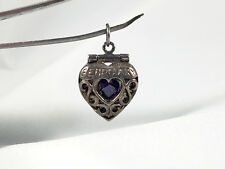 925 Sterling Silver Heart Febuary Amethyst Locket, Charm, Pendant
