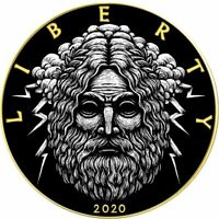 American Silver Eagle ZEUS POWERFUL GODS 2020 Walking Liberty $1 Dollar Coin 1oz