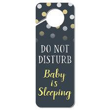 Do Not Disturb Baby is Sleeping Yellow Plastic Door Knob Hanger Sign
