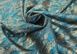 Teal Blue Peacock Feather Jacquard Fabric 145cm Wide - Sold By The Meter