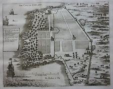 Original antique map, plan INDIA COWLANG COYLANG KOLLAM Baldaeus, Churchill 1744