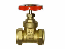28mm Gate Valve | Brass Valve With Red Handle | CxC Compression