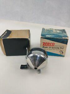 Vintage Zebco SPINNER Model 33 Reel Metal Foot 2 Rivet with box