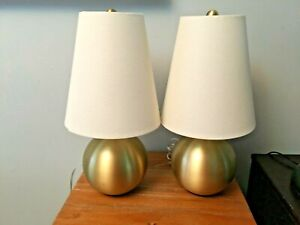 Set of 2 KATE SPADE Brushed Gold Sphere Table Desk Lamps with Linen Shades