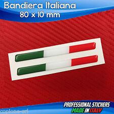 2 Adesivi Resinati Stickers 3D Flag Bandiera ITALIA 8 x 1 cm