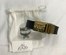 Unisex MCM Embossed Leather Belt With Gold Buckle NWOT