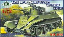 Bt-5 con rs-132 Launcher-WW II Soviet Tank (SOVIETICA MARCATURE) 1/72 UM RARO