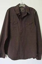 Hurley Freedom Men's Brown Pin Stripe Long Sleeve Button Down Shirt SIZE:M