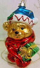 Robert Stanley Blown Glass Christmas Ornament Bear Head w/Gift & Scarf 2011