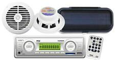 """Brand New Marine Boat MP3 USB SD AUX Radio Player + 2 6.5"""" white Speakers /Cover"""