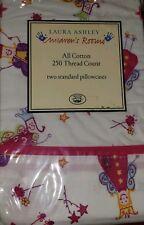 New 2pc Set Laura Ashley Standard Pillowcases FUN FAIRIES PINK FAIRY PRINCESS
