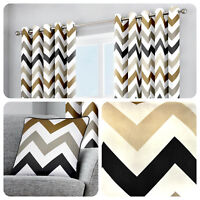 Fusion CHEVRON Eyelet Curtains Tan Brown White Geometric Lined Pair Ready Made