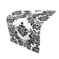 blanco y Negro Estampado adamascado Camino de mesa