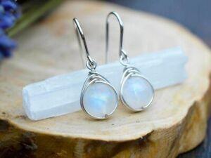 Fashion Moonstone Retro Drop Dangle Earrings Rainbow Gemstone Women's Earring