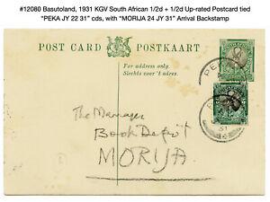 "12080: Basutoland, 1931 KGV South African Postcard ""PEKA JY 22 31"" to Morija"