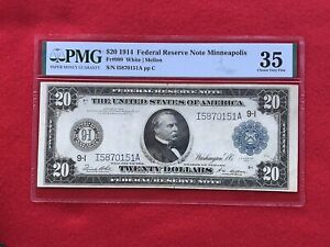 FR-999 1914 Series $20 Minneapolis Federal Reserve Note *PMG 35 Choice Very Fine