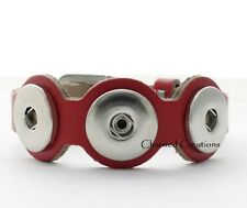 Red Interchangeable Snap Bracelet With Buckle Clasp Fits Three 18mm Snaps