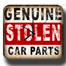 GENUINE STOLEN CAR PARTS  VINTAGE RETRO METAL TIN SIGN WALL CLOCK