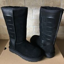 UGG Classic Tall Rubber UGG Logo Black Suede Sheepskin Boots Size US 5 Womens