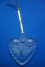 Mikasa Holiday Song Crystal Clear Heart Christmas Ornament Frosted Bells  c4