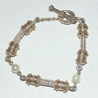 Cultured pearl silver/gold two tone metal boho braided toggle clasp bracelet