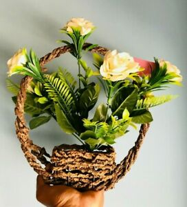 Vintage Woven Flower Display Plant Pot Baskets with handle well art deco