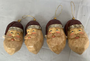 Santa Claus 4 Face Head Ornaments Wood W/silver Hat Trim 1 Hanger Has Some Wear