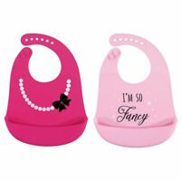 Hudson Baby Girl Silicone Bib, 2-Pack, Fancy