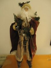 Rustic Woodland Santa Figurine on Skies with Tan Coat, Snow Dusted Burgandy Cape