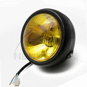 "Yellow 6.5"" Retro Motorcycle Headlight Side Mount Head Lamp Cafe Racer Bobber"