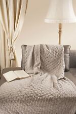 "Leaf Style 100% Merino Wool 43"" x 66"" Throw Blanket [Parsnip]"