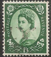 """Great Britain Stamp - Scott #307/A132 1sh3p Dk Green """"Elizabeth"""" Canc/Lh 1953"""