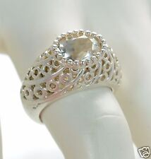 David Sigal Solid 925 Sterling Silver Oval White Topaz Ring Sz-7 '