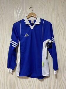 ADIDAS 2000s FOOTBALL SHIRT SOCCER JERSEY LONG SLEEVE BLUE sz S MEN