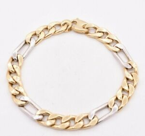 9mm Mens Two-Tone Figaro Link Chain Bracelet Real 10K Yellow Gold 8 3/4""