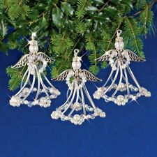 Holiday Beaded Ornament Kit SILVER ANGELS Ornaments Makes 3 NEW!