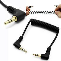 0.5m/1m 3.5mm Jack Stereo Right Angle 90° Male to Male  Coiled Audio Aux Cable