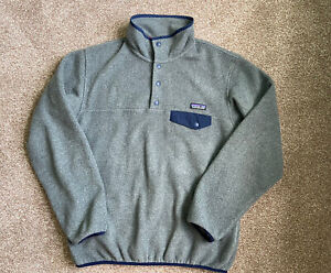 PATAGONIA Womens Grey Lightweight Synchilla Snap T Fleece Pullover Size L Large