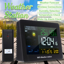 Digital Wireless LCD APP Wifi Weather Station Alarm Clock Humidity Thermometer