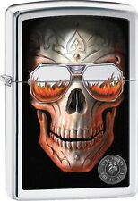 Zippo 2016 Catalog NEW Anne Stokes Carved Skull Glasses High Polish Chrome 29108