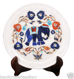 "12"" White Marble Serving Dish Plate Elephant Floral Inlay Marquetry Décor H2276"